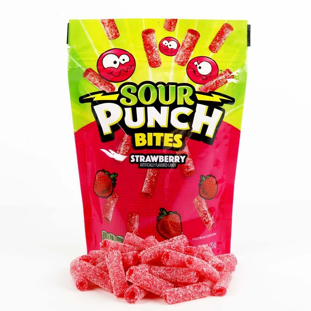 Sour Punch Bites Strawberry Flavored Chewy Sour Candy 9oz Bag Sour Candy Chocolate Candy Brands Chewy Candy