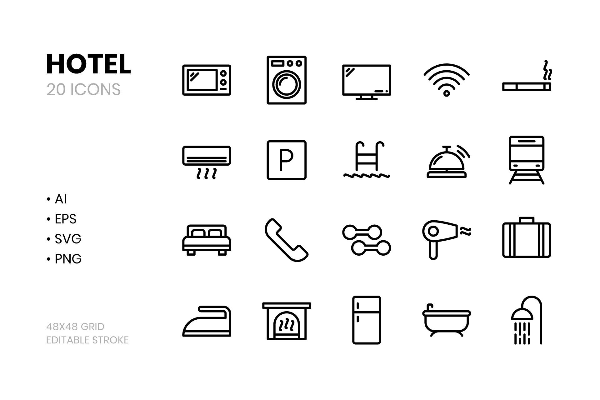 Hotel Line Icons Line Icon Icon Icon Design