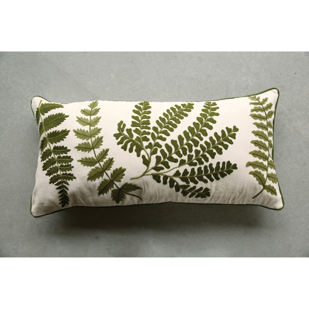 Embroidered and Printed Fern Pillow