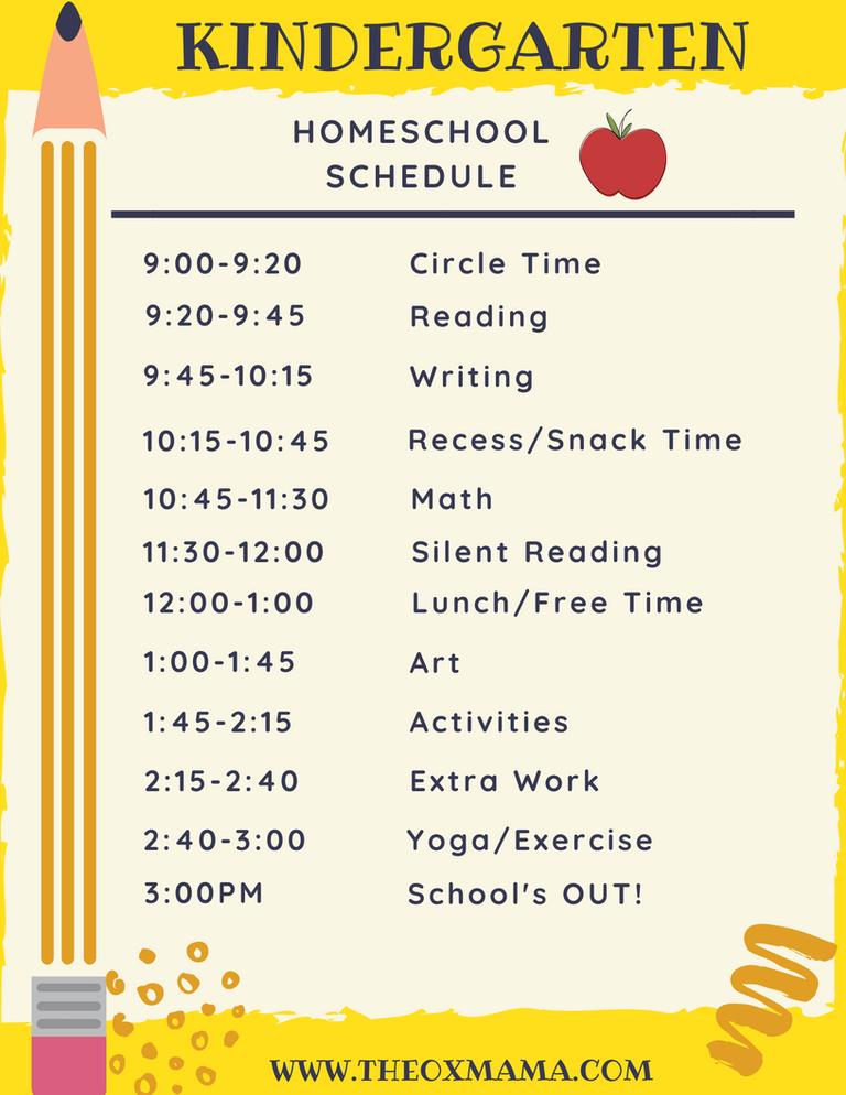 Homeschool Kindergarten Schedule and Curriculum - The Ox Mama