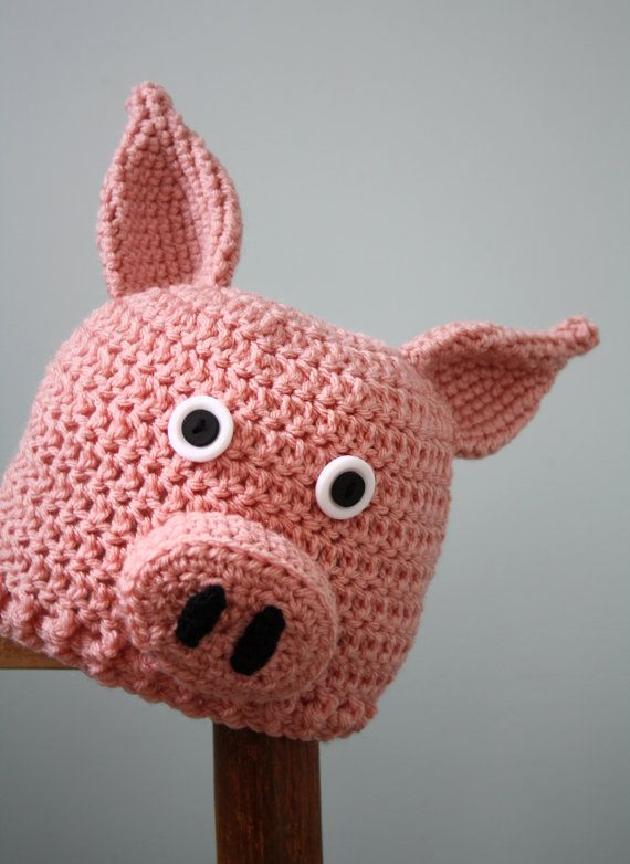size 40 f3297 f9af2 Little Piggy Hat, Pig Hat, Crochet Beanie, Animal Cap, Farm Animal  Clothing, Halloween Costume, Wint