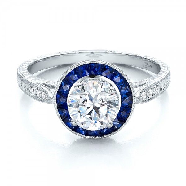 art deco style blue sapphire halo and diamond engagement ring - Blue Sapphire Wedding Rings
