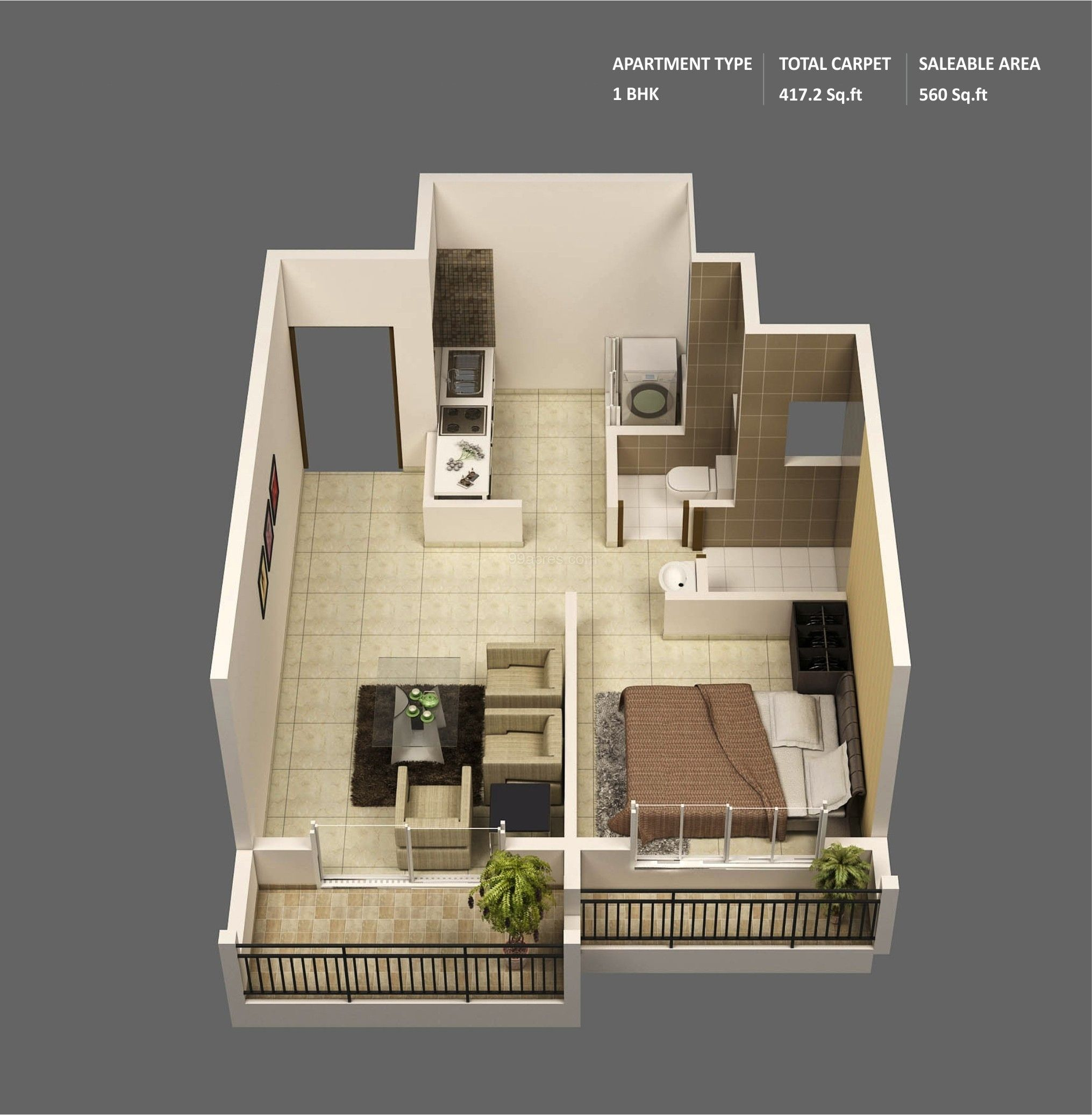 50 One U201c1u201d Bedroom Apartment/House Plans | Architecture U0026 Design