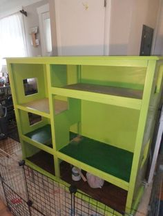 From entertainment center to rabbit hutch. An amazing transformation!