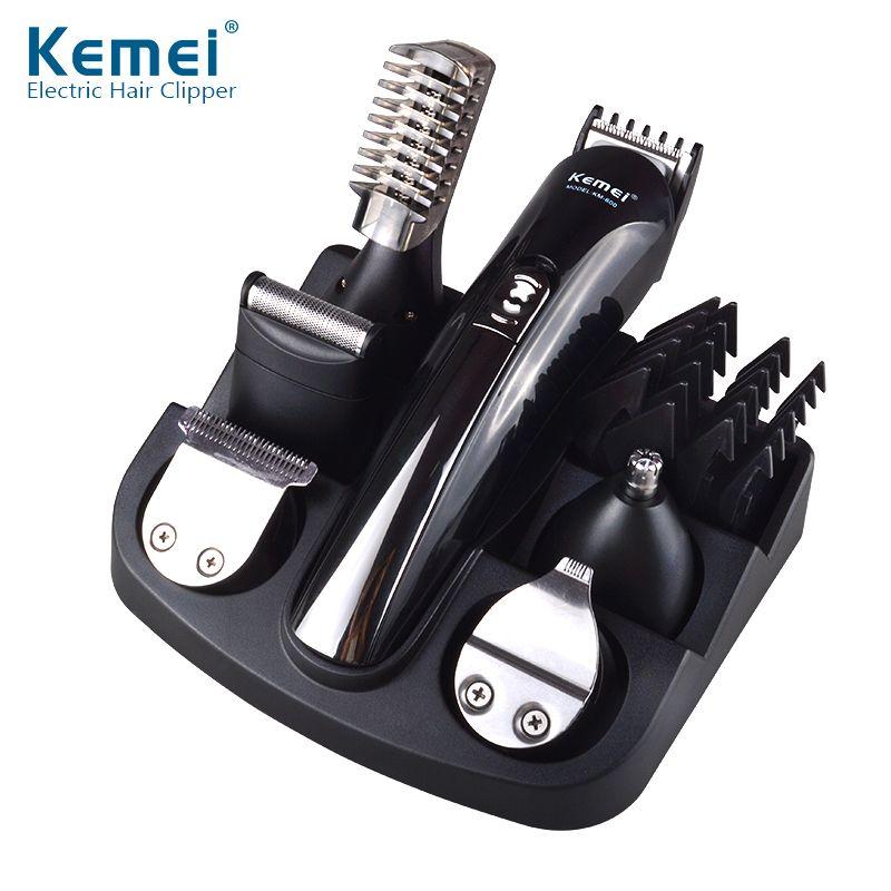 6 en 1 cortador de pelo de titanio cortapelos afeitadora eléctrica barba  trimmer hombres máquina de afeitar de corte herramientas de peinado f6ef903b6654