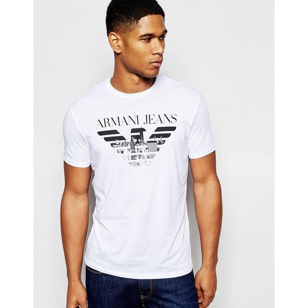 051fa41fb08 Armani Jeans T-Shirt with Eagle Logo in Regular Fit (€70) ❤ liked on  Polyvore featuring men s fashion