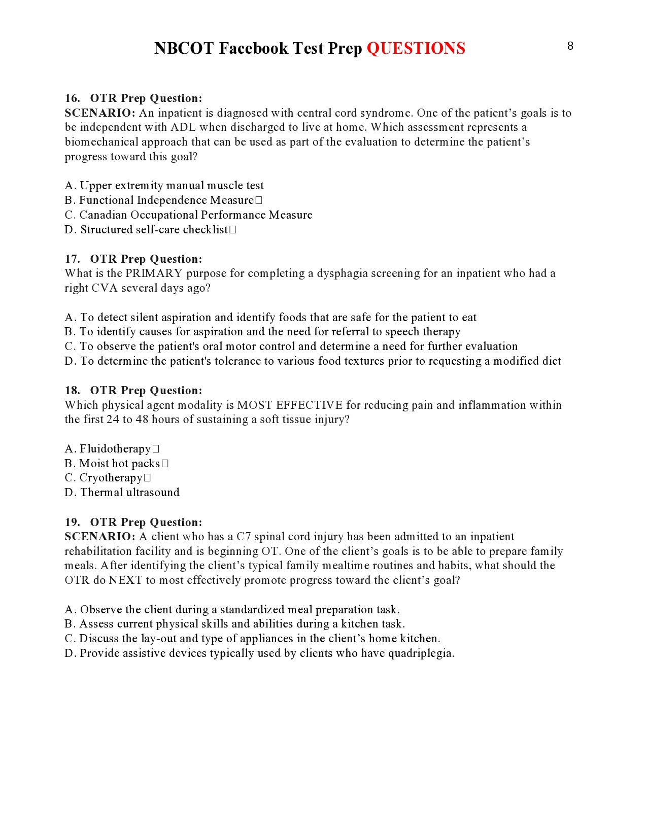 Nbcot Facebook Test Prep Questions Page 8