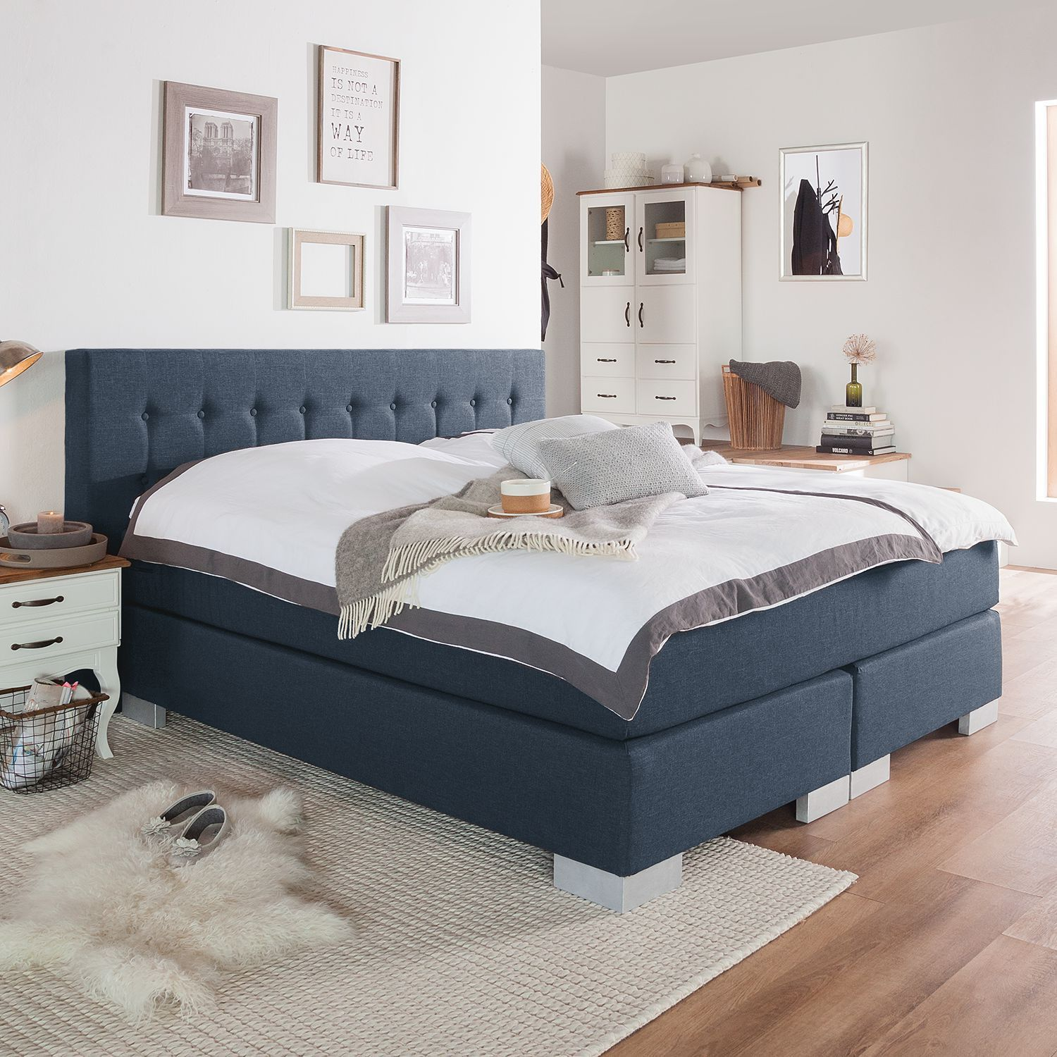 Fredriks Box Spring Bed Loimaa 160x200 Cm Web Fabric Denim Blue With Topper In 2020 Box Spring Bed Beautiful Bedroom Decor Bed Springs