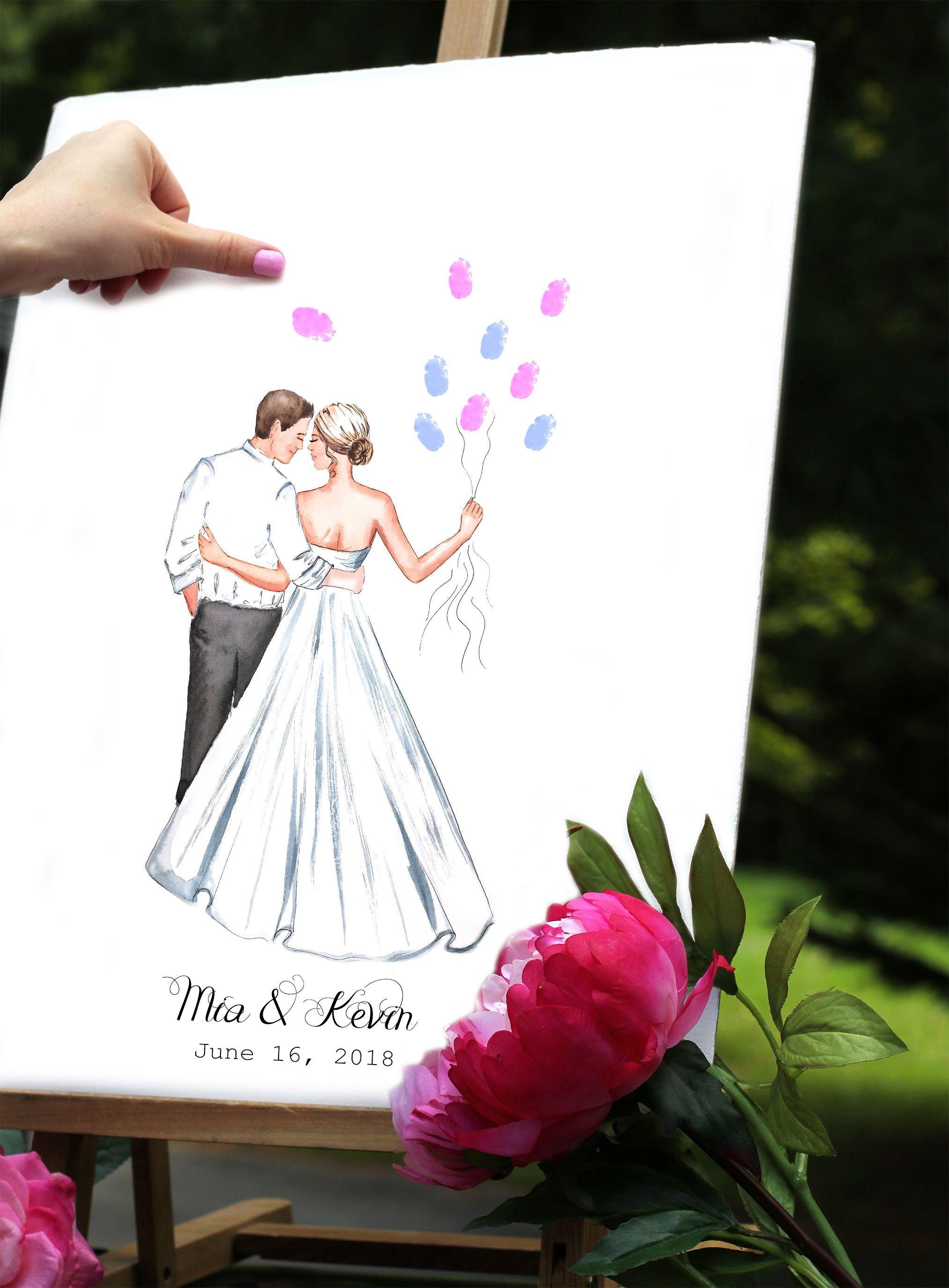 card Bride silhouette tag guest book alternative
