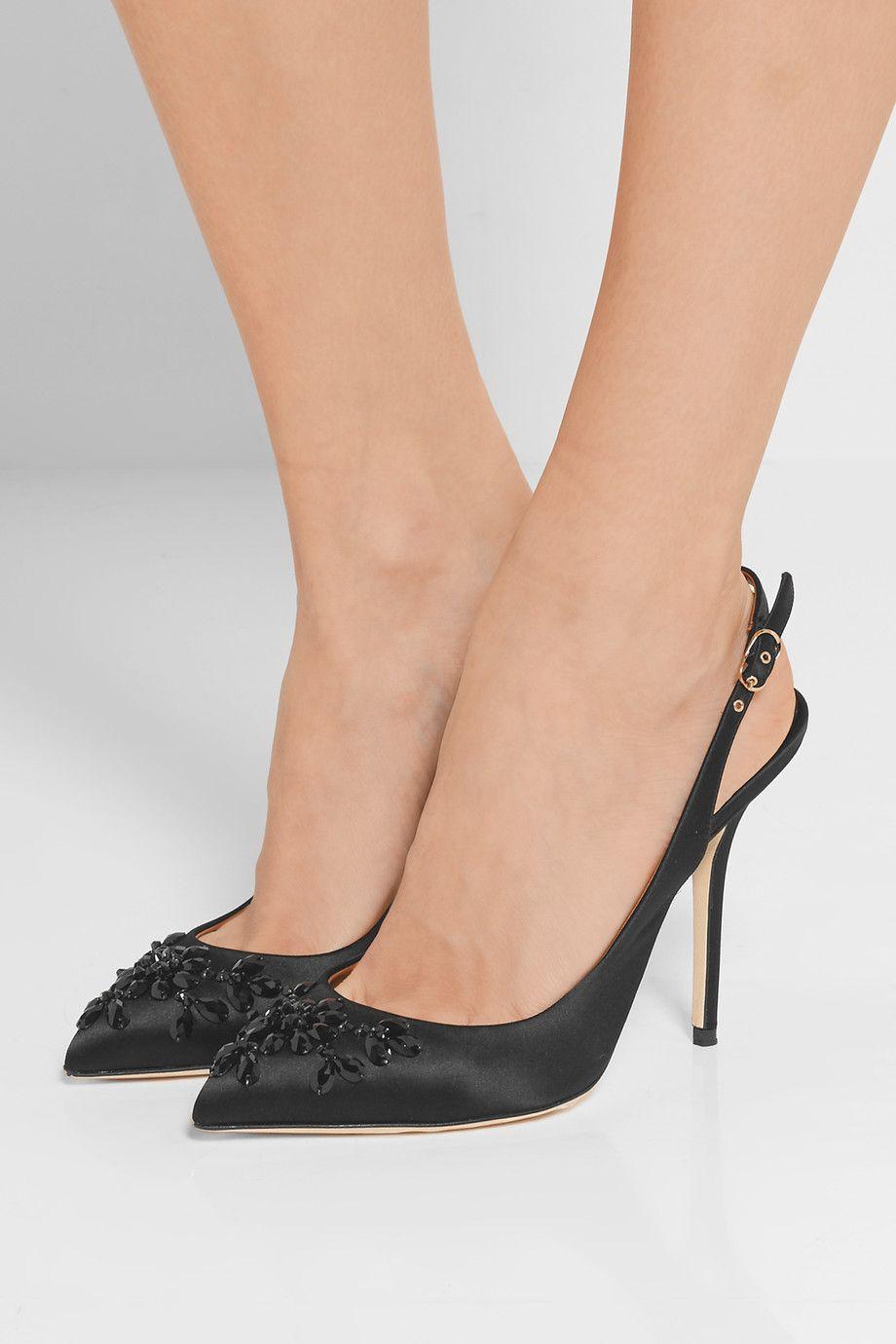 Dolce & Gabbana Embellies Pompes Slingback - Noir GKCUQ4ujQg