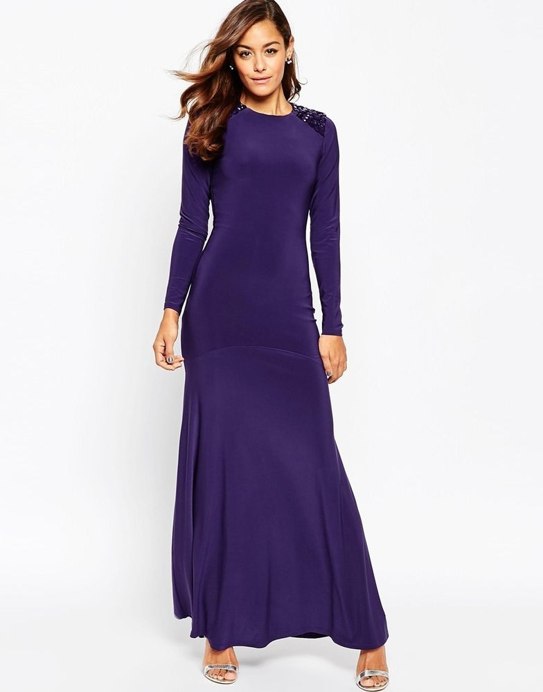 ASOS Embellished Shoulder Pad Maxi Evening Dress in Purple UK 10/EU ...