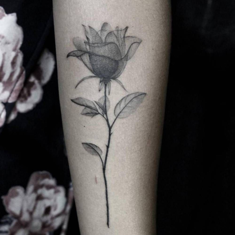 Fine line x ray rose tattoo on the left inner forearm for X ray tattoo