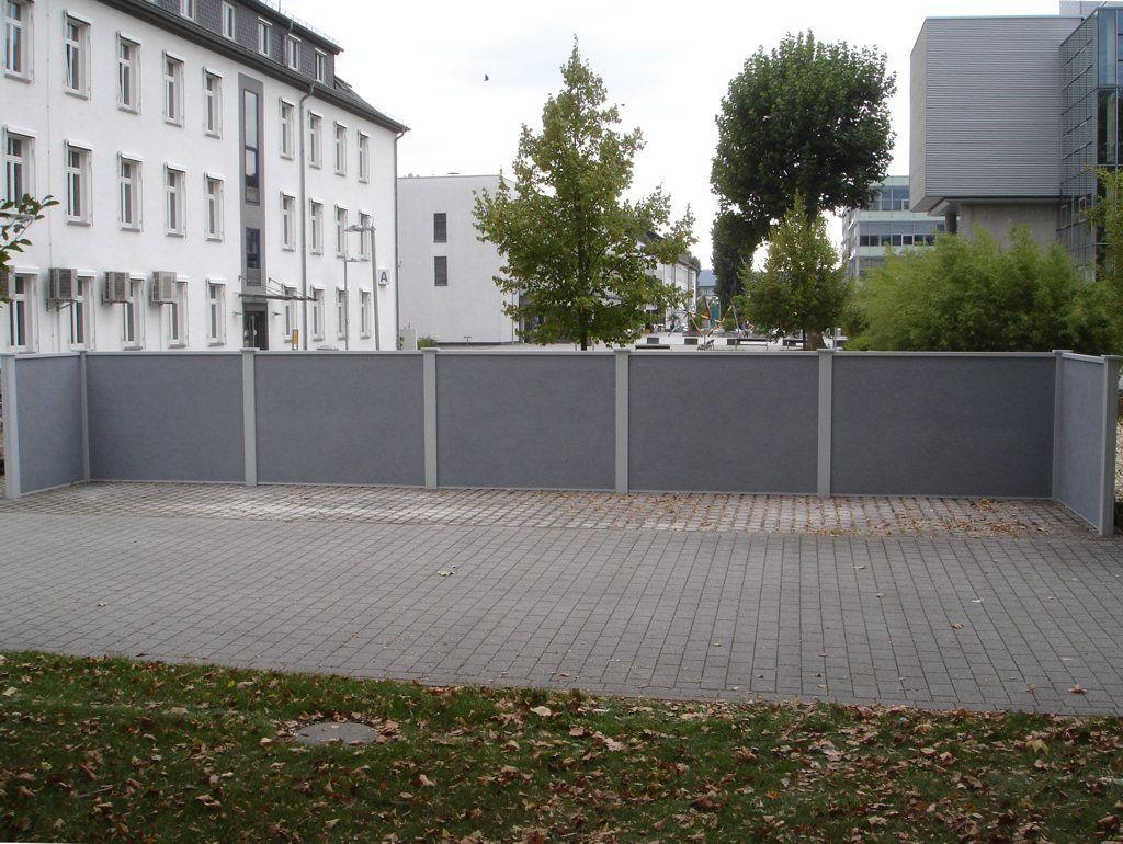 Sichtschutzwand 1 8 m hoch Designabdeckung Pfosten lichgrau Wand