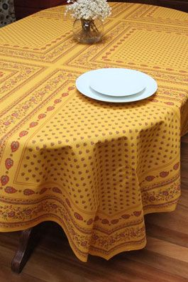 Traditional Provencal Tablecloth With Ochre And Burgundy Tones