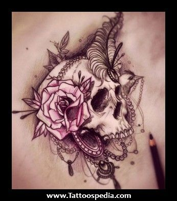 Black tat with pink... roses, feathers, lace, pearls... no skull