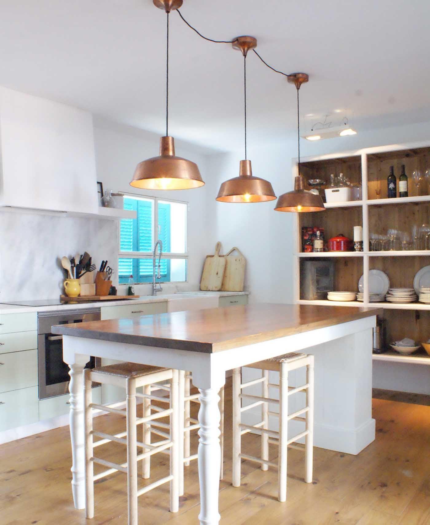 ideas para decorar la casa cocinas con lamparas estilo industrial