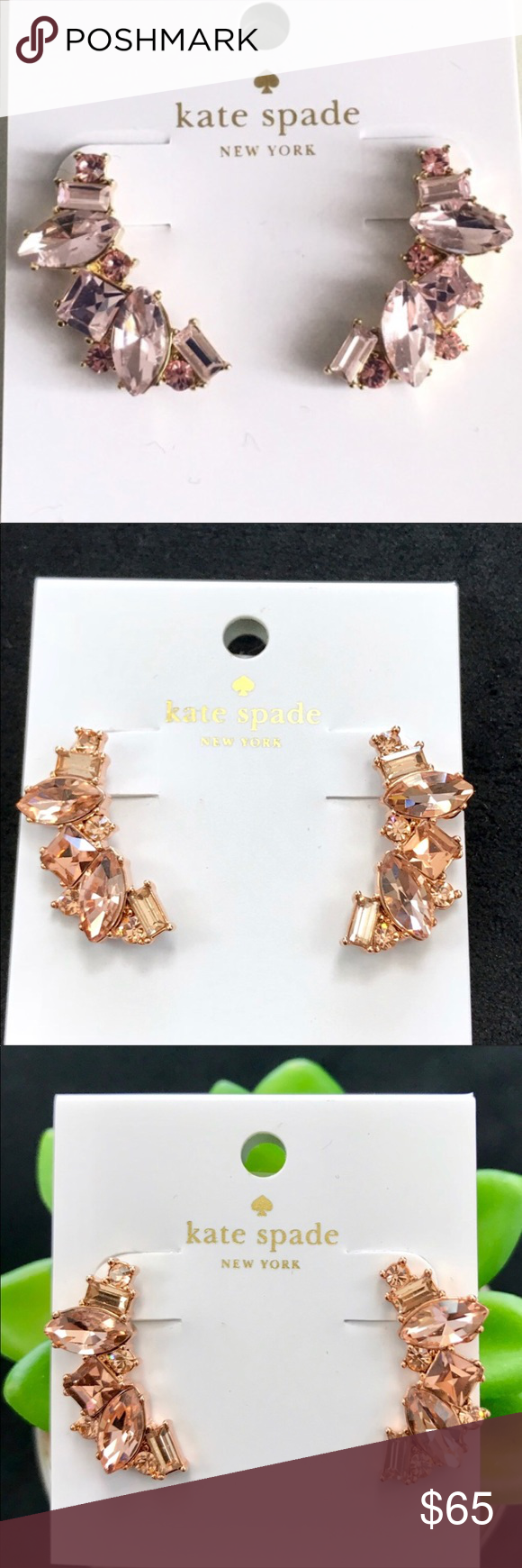 new high quality run shoes official Kate Spade Cluster Crawler Earrings Light Peach Kate Spade Rose ...