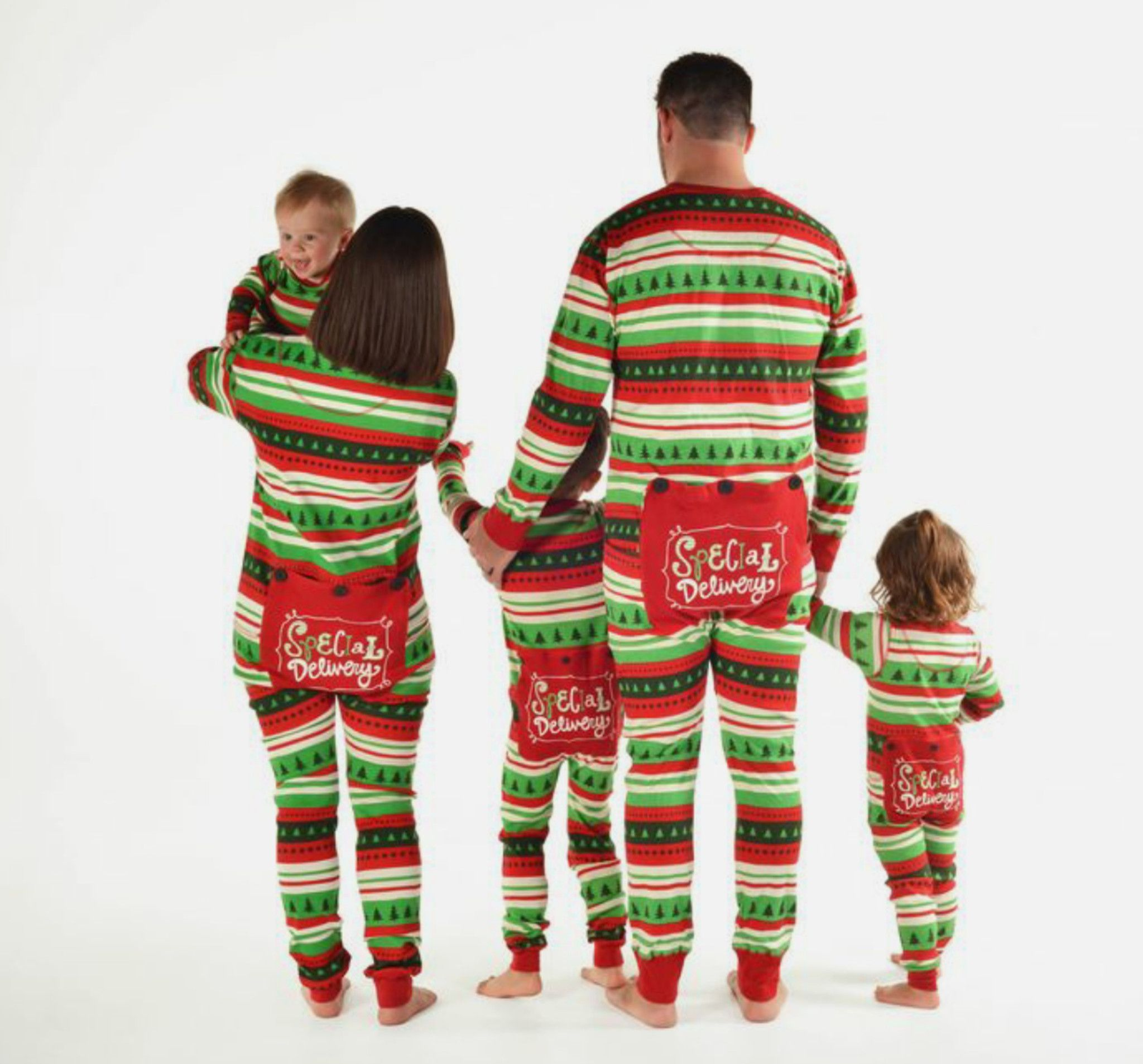 adorable matching christmas pjs for the whole family redgreenspecial delivery matching onesies flapjackschristmas morning infanttoddler kids adult