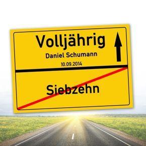 Personalisiertes Ortsschilderbild - 18. Geburtstag via: www.monsterzeug.de