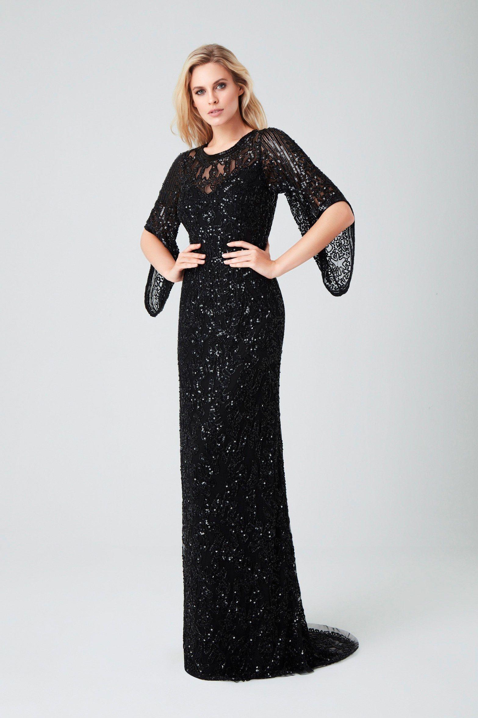 Siyah Salas Yarim Kol Payetli Uzun Abiye Oleg Cassini Aksamustu Giysileri Elbise Moda Stilleri
