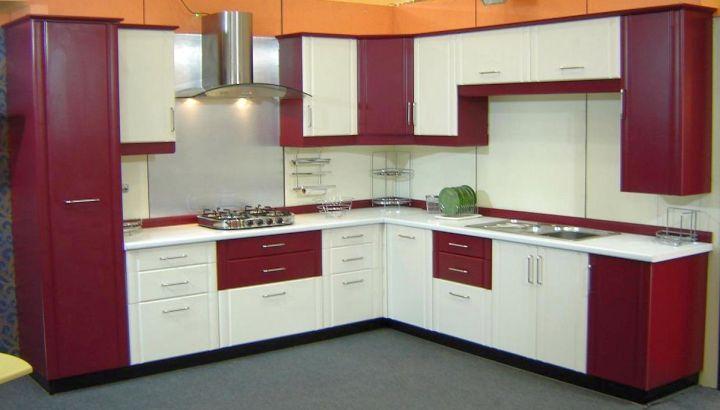 Maroon and White Kitchen Cabinets Design Ideas | Kitchen Design ...