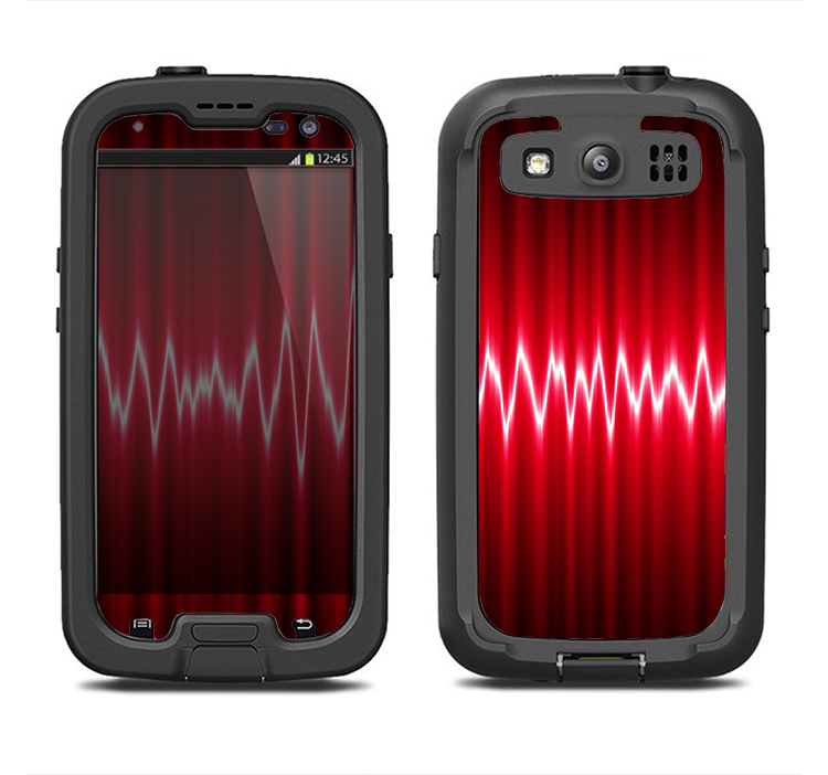 The Glowing Red Wiggly Line Samsung Galaxy S3 LifeProof Fre Case Skin Set