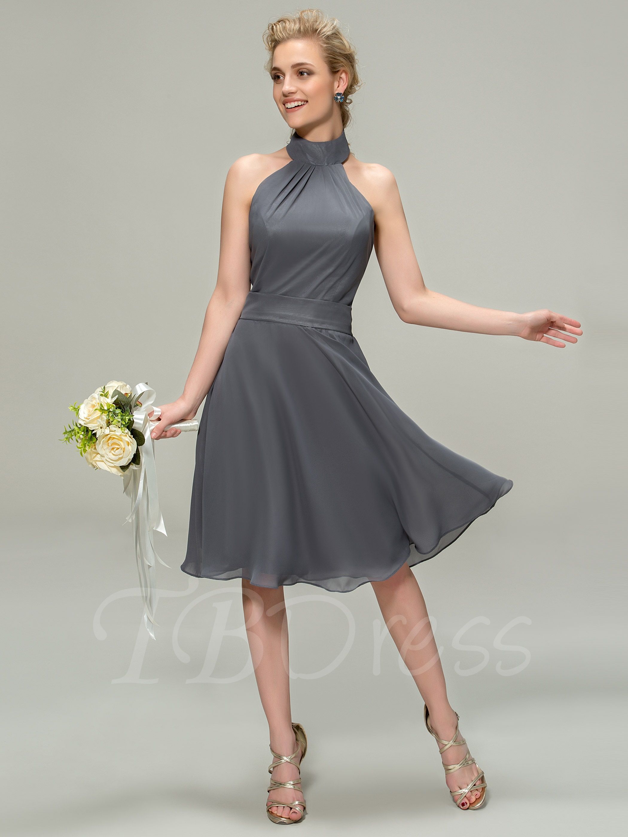 Halter kneelength bridesmaid dress with images knee