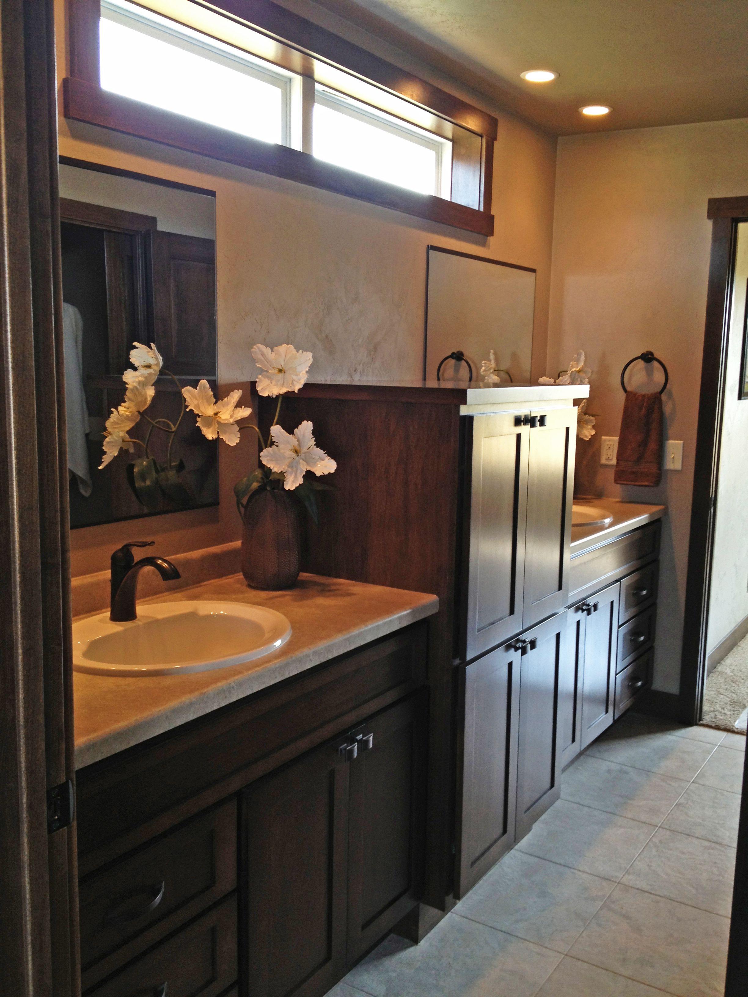 Double Vanity Master Bathroom Off Of The Master Bedroom Master Bathroom Framed Bathroom Mirror Double Vanity