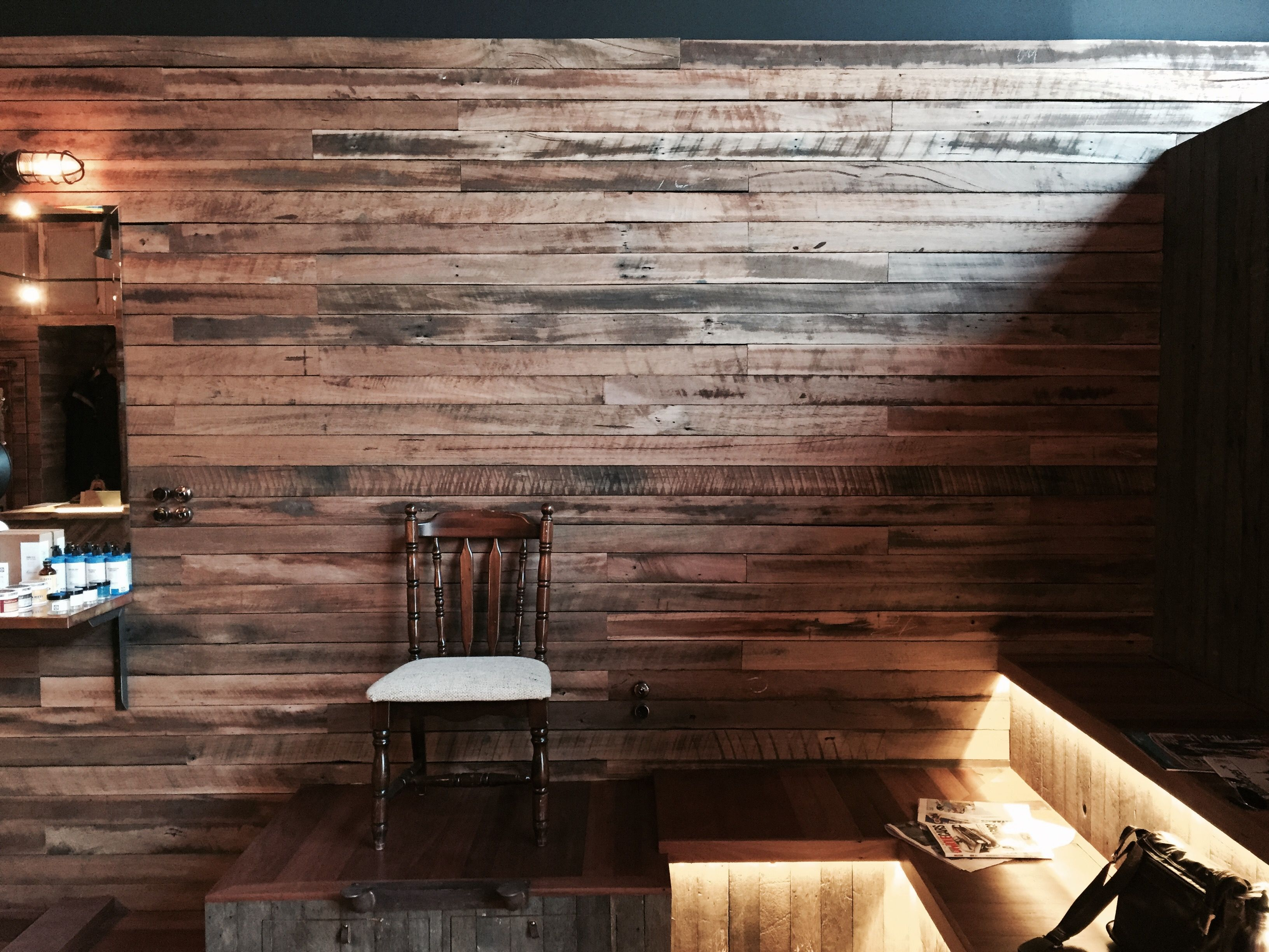 Wonderful Recycled Ash And Blackbutt Wall Cladding Salvaged From The Roof Trusses Of  Old Sydney Houses, Home Design Ideas