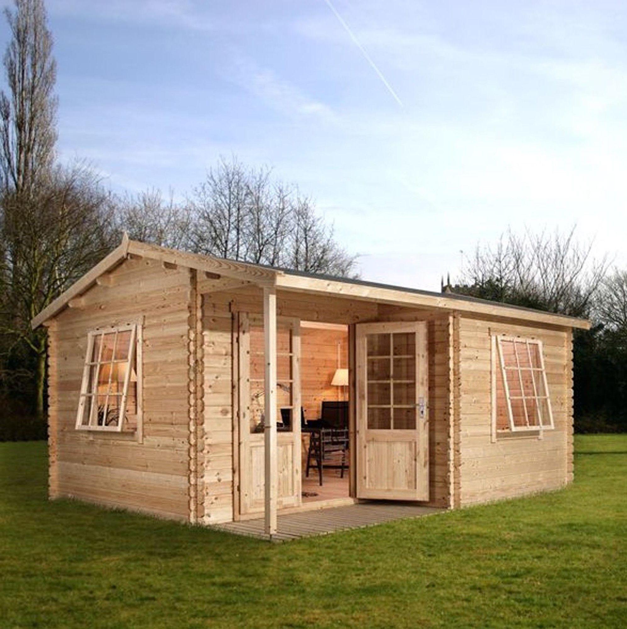 Home Office Executive Log Cabin With Double Door Wayfair Uk Diy House Plans Cabin Kits Diy Cabin