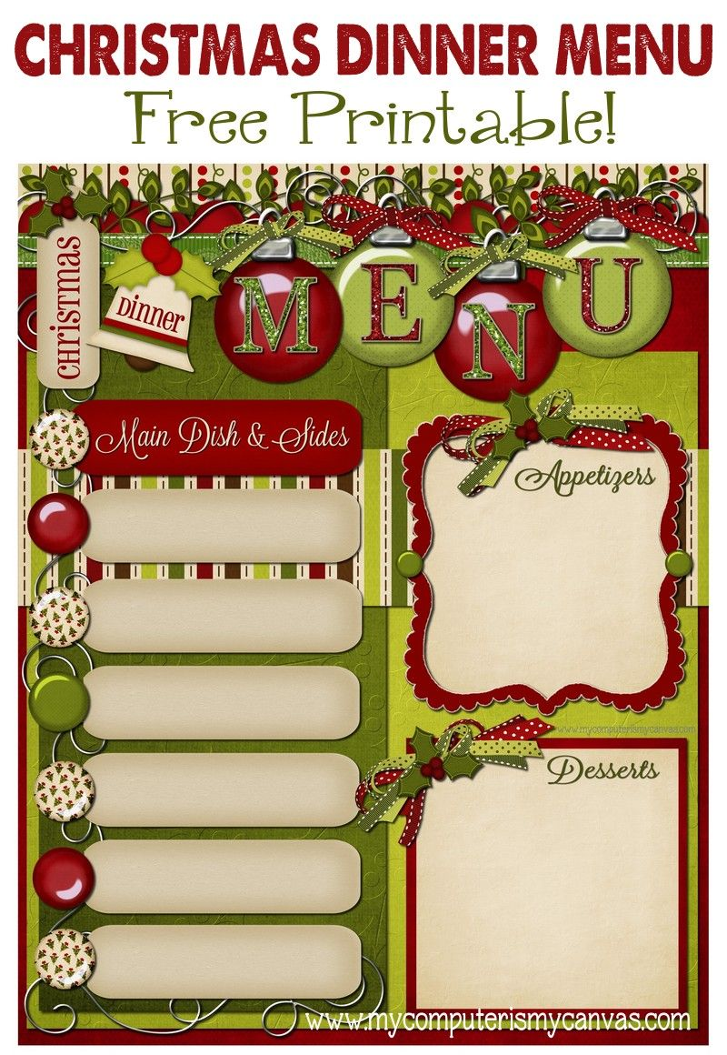 FREE PRINTABLE Christmas Day Menu Planner By My Computer Is My Cavas  Free Xmas Menu Templates
