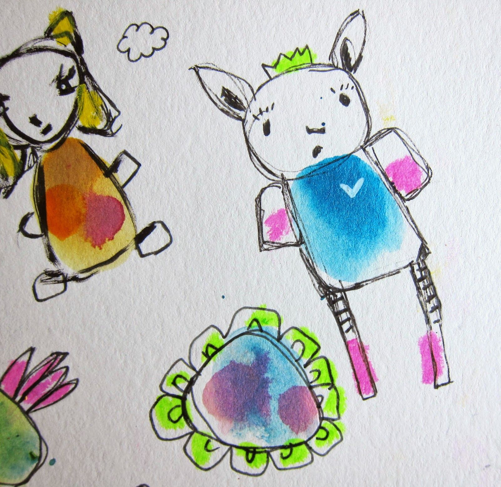 Marcia Beckett:  Art Journaling and Mixed Media: Watercolor Doodled Creatures