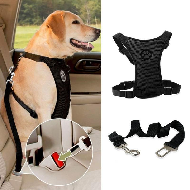 Mesh Dog Harness With Adjustable Straps Car Safety Dog Seat