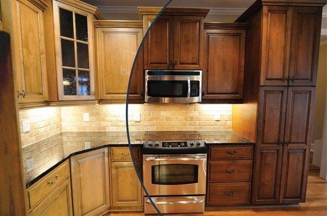 Staining Golden Oak Oak Kitchen Remodel Stained Kitchen Cabinets Rustic Kitchen Cabinets