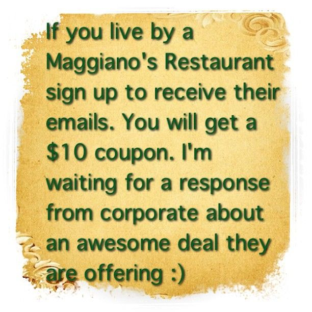 picture relating to Maggianos Printable Coupon titled Indication up for Maggianos Cafe e-mails for a $ 10 coupon