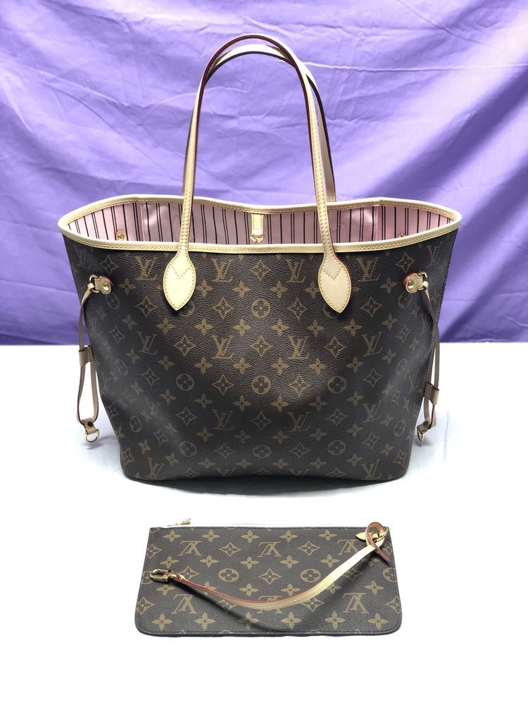 b110ef0c0e6f2 fashion Louis Vuitton Neverfull MM Monogram Rose Ballerine Pink Handbag W   Pochette EUC