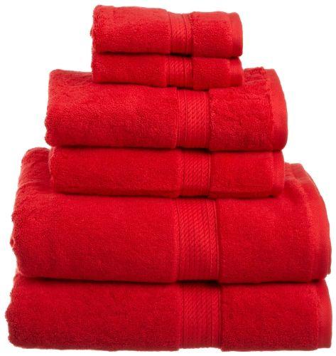 Superior 900 Gram Egyptian Cotton 6 Piece Towel Set Red Superior