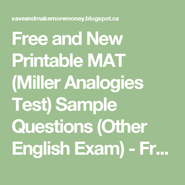 Free and New Printable MAT (Miller Analogies Test) Sample ...