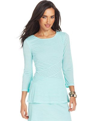 ECI Striped Ribbed Peplum Top - Tops - Women - Macy's