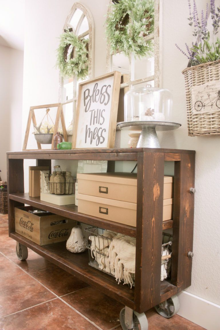 DIY Knockoff Restoration Hardware Wood & Steel Console Table #restorationhardware