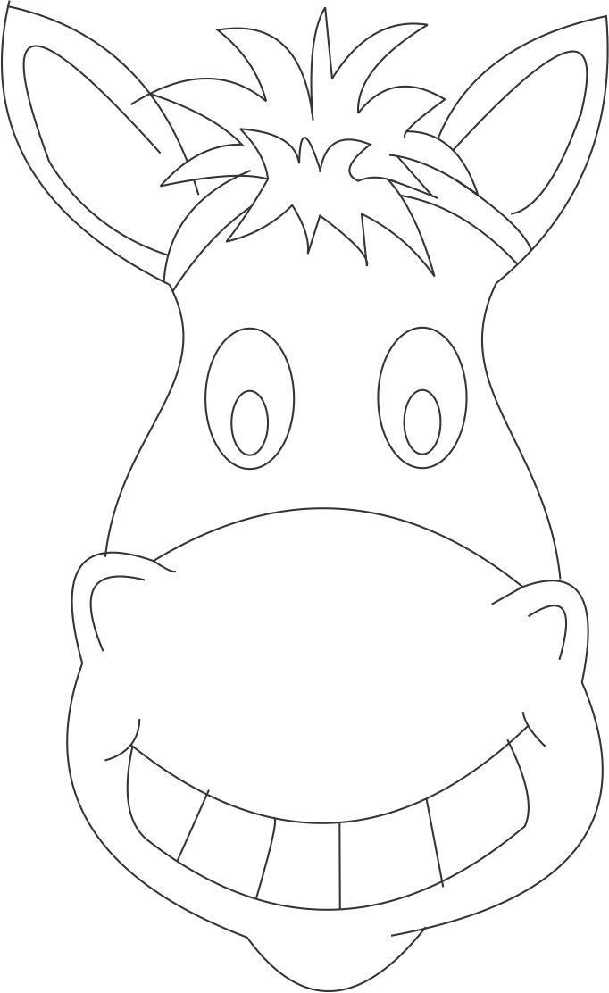 Horse mask printable coloring page for kids | Worksheets | Esel