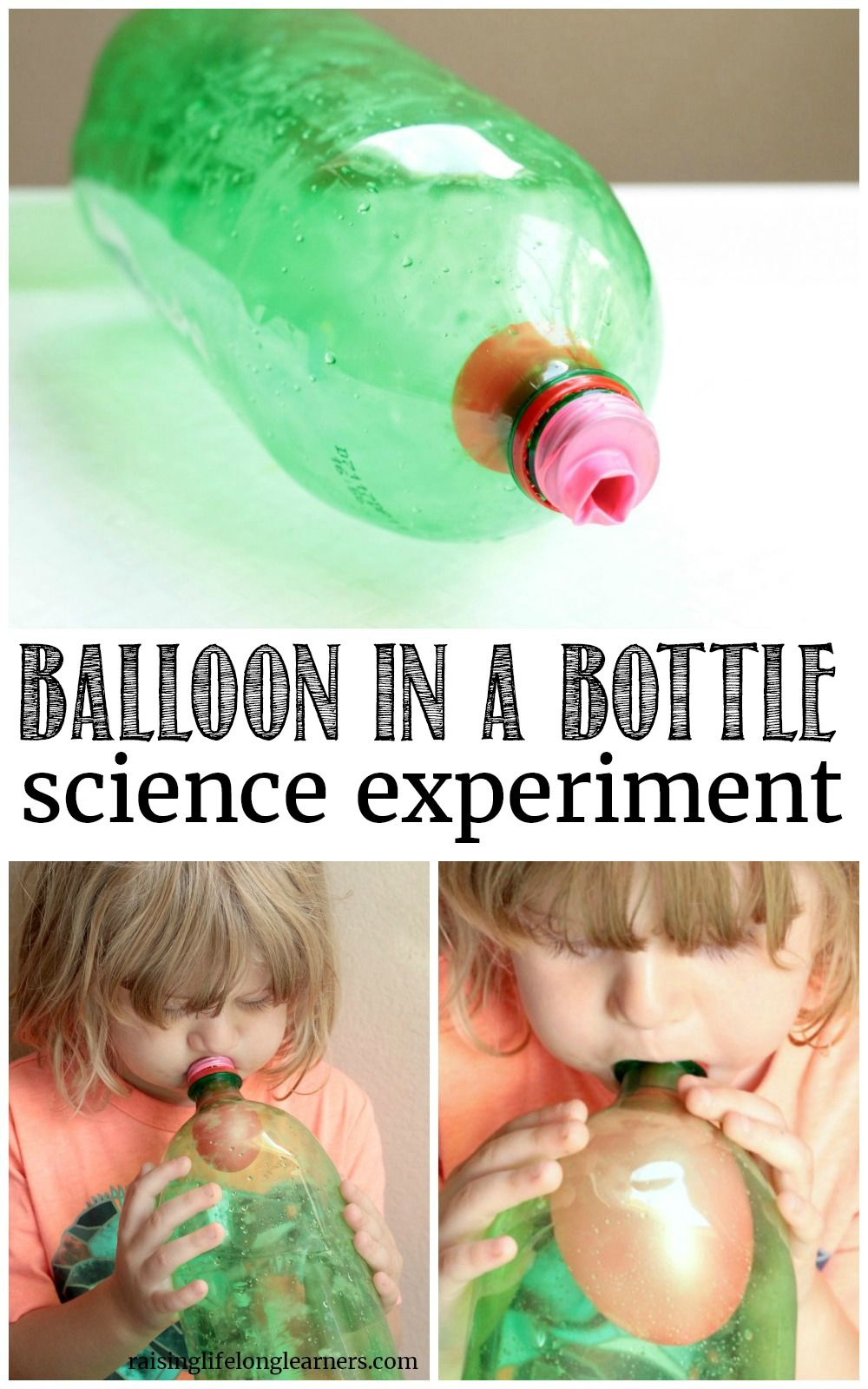 Blow Up a Balloon in a Bottle Experiment | Science experiments ...