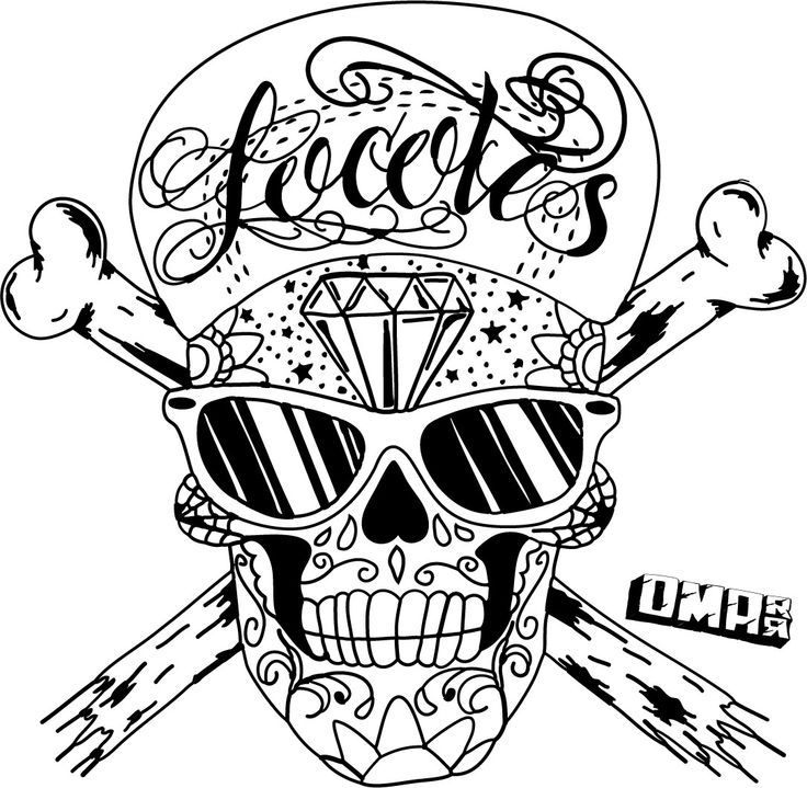 skull graffiti coloring pages