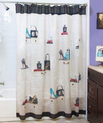 Amazon Com Fashionista Glam Old Hollywood Paris Couture Shoes Purse Fashion Bath Ensemble Showe Fabric Shower Curtains Fancy Bathroom Bathroom Shower Curtains
