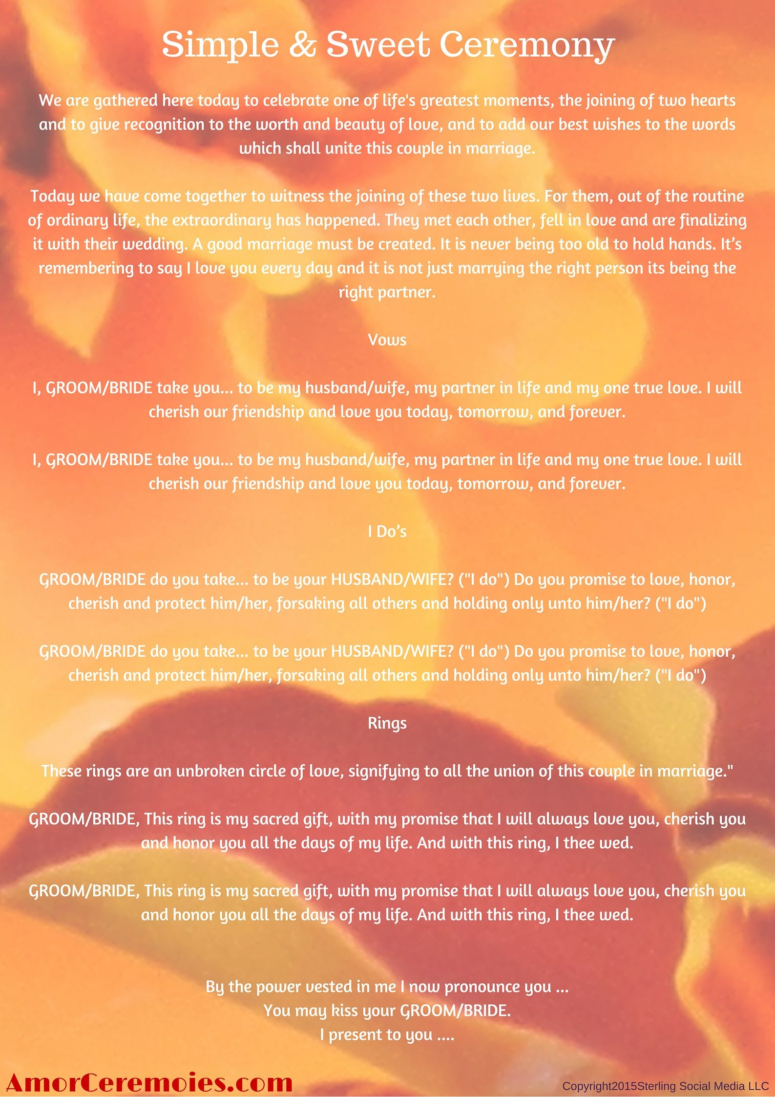 Simple Wedding Ceremony Script