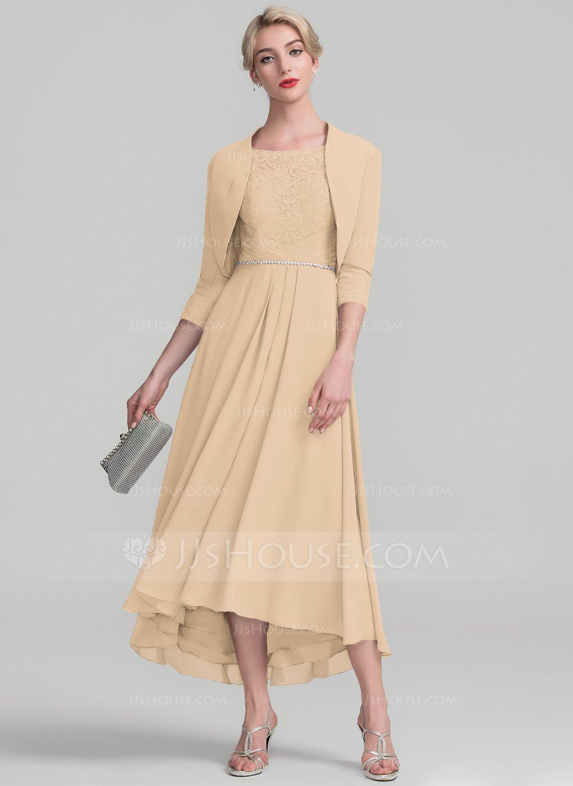 e8fa75e4d69 A-Line Princess Scoop Neck Asymmetrical Chiffon Lace Mother of the Bride  Dress With Beading (008118940) - Mother of the Bride Dresses - JJ s House