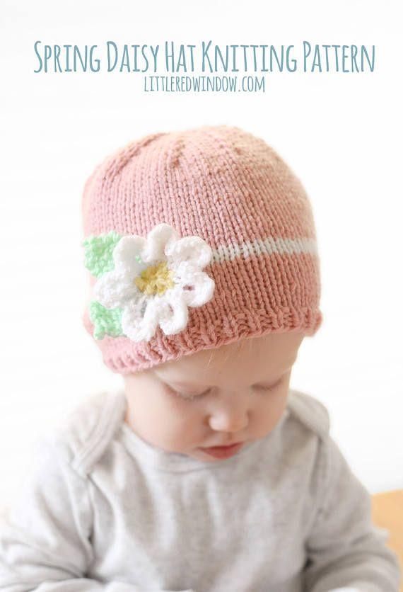 Spring Daisy Flower Baby Hat KNITTING PATTERN knit hat | Baby ...