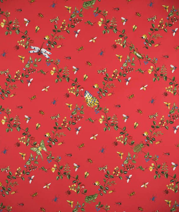 Scalamandre Jour de Juin-multi on red | Red wallpaper ...