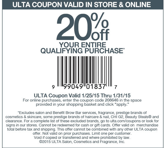 Ulta Coupons 20 Off At Ulta Or Online Via Promo Code 208646 Ulta Coupon Jcpenney Coupons Retail Coupons