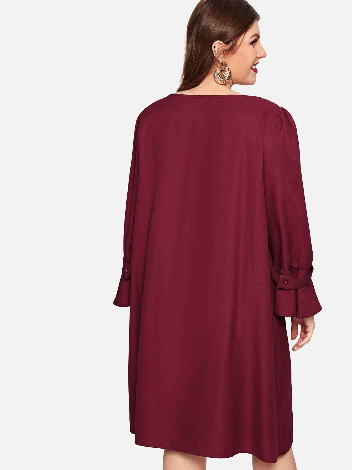 Plus Puff Bell Sleeve Tunic Solid Dress Sleeve#Bell#Puff ...